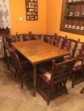 Rohová lavice, stůl a židle
