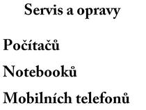 Opravy a Servis Počítačů, Notebooků a Mobilní